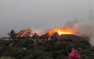 A blaze believed to have been caused by lightning rips through Richard Branson's luxury home on Necker Island, in the Caribbean.