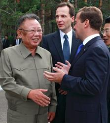North Korean leader Kim Jong Il, left, listens to Russian President Dmitry Medvedev during a meeting at a military garrison, outside Ulan-Ude, Wednesday, Aug. 24, 2011. Russian President Dmitry Medvedev arrived Wednesday in remote eastern Siberia for a summit with North Korean leader Kim Jong Il expected to focus on...