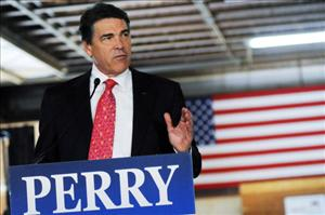 Texas Governor Rick Perry speaks to workers at Epoch Homes August 18, 2011 in Pembroke, New Hampshire.