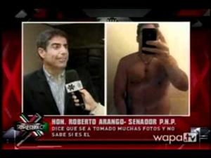 Images from a Wapa TV report on Puerto Rican conservative Roberto Arango, who reportedly posted naked photos of himself to the gay cruising app Grindr.