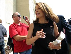 Republican presidential candidate, Rep. Michele Bachmann, R-Minn., arrives at Idlewild Baptist Church Sunday, Aug. 28, 2011, in Lutz, Fla.