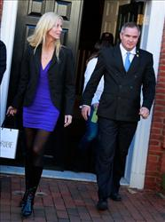 Michaele and Tareq Salahi leave the Halcyon House in Georgetown on December 1, 2009 in Washington, DC.
