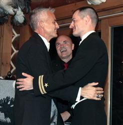 Navy Lt. Gary Ross, right, and Dan Swezy celebrate after exchanging wedding vows on at midnight last night in Duxbury, Vt.