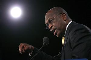 Republican presidential candidate Herman Cain speaks prior to Florida's President 5 straw poll at the Orange County Convention Center yesterday.
