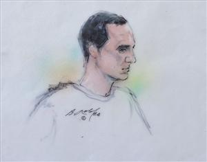 In this courtroom sketch, Jared Lee Loughner appears in federal court for a mental competency hearing Wednesday, Sept. 28, 2011 in Tucson, Ariz.