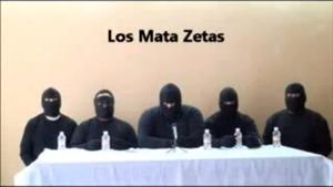 Screegrab from a video released by of a paramilitary group which has vowed to 'eliminate' the Zetas cartel.