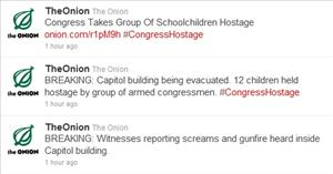 Screen grabs of some Onion tweets today.