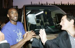 Kobe Bryant leaves the Campidoglio, or capitol hill, in Rome, Thursday, Sept. 29, 2011.