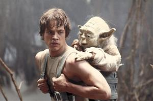 Yoda gets a ride on Luke Skywalker in this scene from Star Wars Episode V: The Empire Strikes Back.