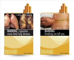 In this combo made from file images provided by the U.S. Food and Drug Administration shows two of nine new warning labels cigarette makers will have to use by the fall of 2012.