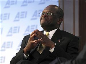 In this Oct. 31, 2011, file photo Republican presidential candidate Herman Cain speaks at the American Enterprise Institute for Public Policy Research (AEI) in Washington.