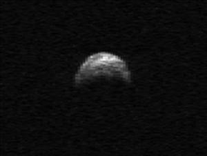 This image made from radar data taken in April 2010 by the Arecibo Radar Telescope in Puerto Rico and provided by NASA/Cornell/Arecibo shows asteroid 2005 YU55.