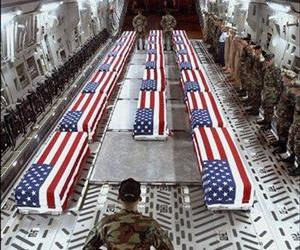 The coffins of US soldiers are seen aboard a cargo plane in Dover, Del.
