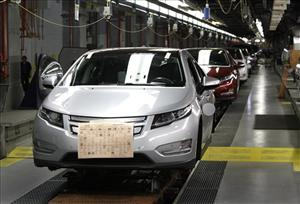 Chevrolet Volt vehicles on the assembly line.