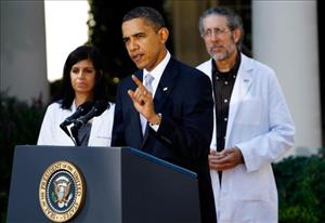 President Obama speaks from the Rose Garden during an event with medical doctors at the White House.