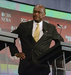 Republican presidential candidate Herman Cain speaks during the CBS News/National Journal foreign policy debate at the Benjamin Johnson Arena, Saturday, Nov. 12, 2011 in Spartanburg, S.C.