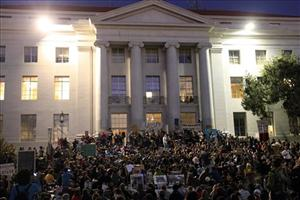 Demonstrators gather at Sproul Plaza on the campus of the University of California at Berkeley yesterday.