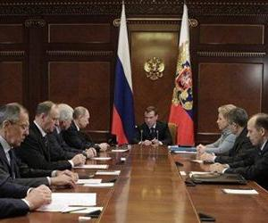 Russian President Dmitry Medvedev, center, chairs a Security Council meeting in the Gorki residence outside Moscow, Wednesday, Nov. 23, 2011.