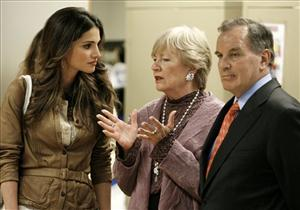 In this 2006 file photo, Jordan's Queen Rania listens to Maggie Daley, wife of Chicago Mayor Richard M. Daley, right, as they tour an after-school dance program in Chicago.