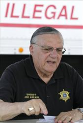 In this July 30, 2010 photo, Maricopa County Sheriff Joe Arpaio talks about his latest crime suppression sweep in Phoenix.