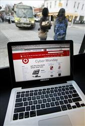 The Target web site is shown on a computer screen at a coffee shop in Providence, RI.