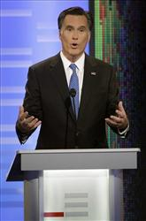 Republican presidential candidate, former Massachusetts Gov. Mitt Romney takes part in the Republican debate, last night in Des Moines, Iowa.