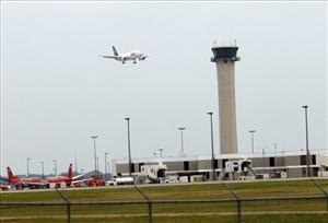 A plane prepares to land at the Memphis International Airport in Tennessee.