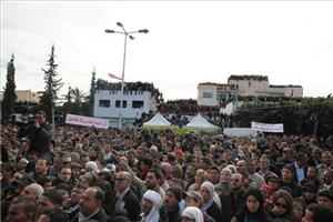 Thousands of Tunisians gather in Sidi Bouzid, central Tunisia, to celebrate the first anniversary of the revolution, Saturday, Dec 17, 2011.