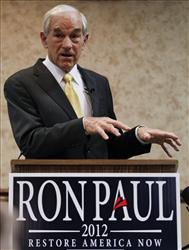 Ron Paul speaks during a campaign stop in Fort Madison, Iowa, Wednesday.
