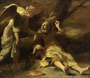 The Biblical prophet Elijah awakes to find an angel waiting.