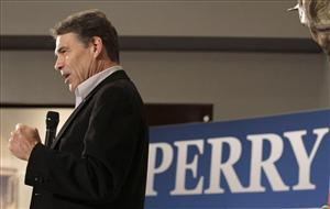 Rick Perry speaks during a campaign stop at the Glenn Miller Museum in Clarinda, Iowa yesterday.