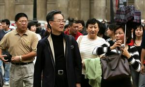 Chinese tourists visit the British Museum in London.