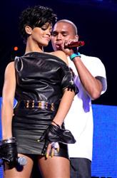 Rihanna and Chris Brown perform on stage during Z100's Jingle Ball at Madison Square Garden on December 12, 2008 in New York City.