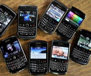 This picture shows a collection of Blackberry devices at a small restaurant in Jakarta on December 10, 2011.