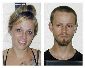 This combo made from images provided by the San Pete County Sheriff shows Angela Atwood, 25, left, and Logan Welles McFarland, 24.