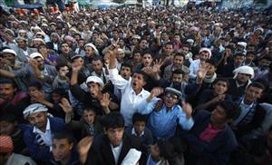 Yemeni protesters chant slogans during a demonstration yesterday demanding the prosecution of  President Ali Abdullah Saleh,