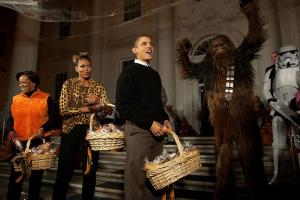 A lavish Halloween party held at the White House in 2009 was kept secret because the Obama administration feared it would look bad, given the depths of the recession at the time, alleges Jodi Kantor in her new book The Obamas.