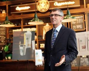 Heard the one about the blonde? You won't from Starbucks chief Cliff Burrows, seen here introducing the new blend.