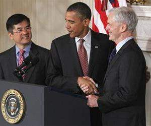 President Barack Obama stands with John Bryson, his nominee to be the next Commerce Secretary, right, and current Commerce Secretary Gary Locke, May 31, 2011, in the White House State Dining Room.