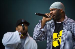 Wu Tang Clan perform live on the pyramid stage during the Glastonbury Festival at Worthy Farm, Pilton on June 24, 2011 in Glastonbury, England.