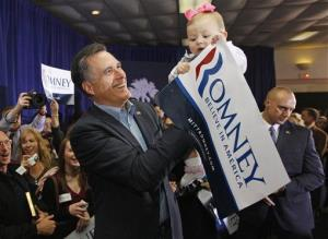 Republican presidential candidate, former Massachusetts Gov. Mitt Romney, holds up seven-month-old Ellen Whitaker as he campaigns at  American Legion Post 15 in Sumter, SC, yesterday.