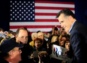 Republican presidential hopeful Mitt Romney greets suporters after holding a forum at American Legion Post 15 in Sumter, South Carolina, January 14, 2012. South Carolina will hold its Republican primary on January 21, 2012.  AFP PHOTO/Emmanuel Dunand