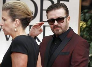 Ricky Gervais arrives at the 69th Annual Golden Globe Awards Sunday, Jan. 15, 2012, in Los Angeles.