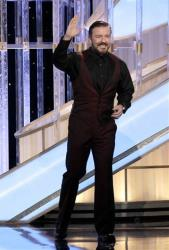 In this image released by NBC, host Ricky Gervais is shown during the 69th Annual Golden Globe Awards on Sunday, Jan. 15, 2012 in Los Angeles.