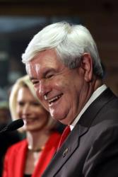 Newt Gingrich holds a town hall meeting with his wife Callista Gingrich at Mutts BBQ on January 18, 2012 in Easley, South Carolina.