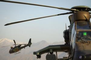 A French helicopter   takes off from the Nijrab  Forward   military base in eastern Afghanistan.