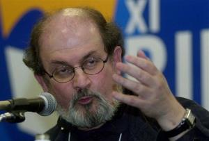 In this file photo, Indian-born writer Salman Rushdie speaks during the in Rio de Janeiro.