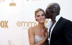 Heidi Klum and Seal arrive at the Emmy Awards on Sept. 18, 2011, in Los Angeles.
