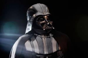 An original Darth Vader costume from the Star Wars films on display in Christie's auction house on October 27, 2010.