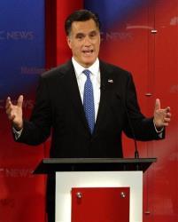 Mitt gestures during the Republican presidential debate last night.